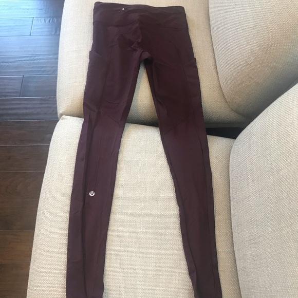lululemon athletica Pants - Lululemon maroon speed tight size 4